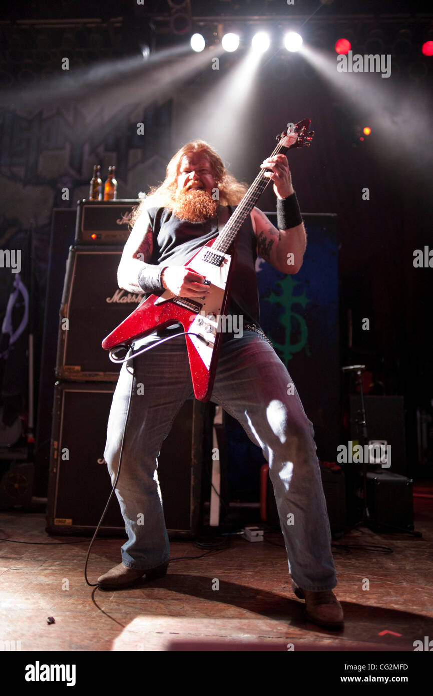October 4, 2011 - Chicago, IL, USA - Nate Garnette, guitarist of the Ohio thrash metal band Skeletonwitch, performs - Stock Image