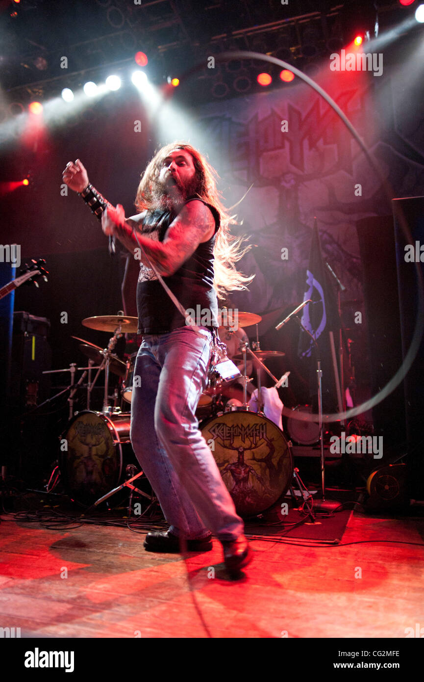 October 4, 2011 - Chicago, IL, USA - Chance Garnette, vocalist for the Ohio thrash metal band Skeletonwitch, performs - Stock Image