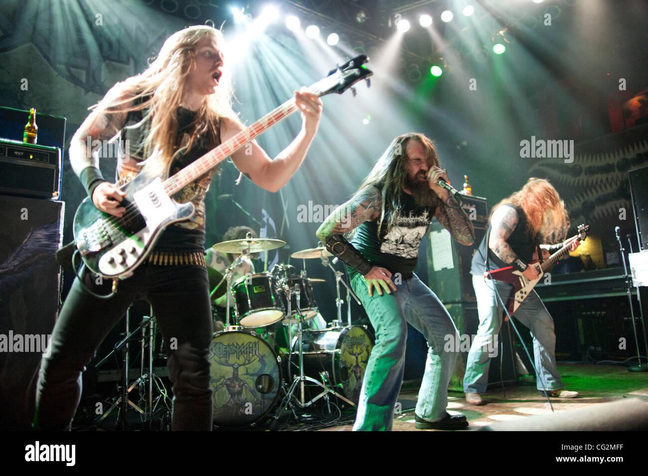 October 4, 2011 - Chicago, IL, USA - Scott Hedrick (left), Dustin Boltjes (Back), Chance Garnette (center), and - Stock Image