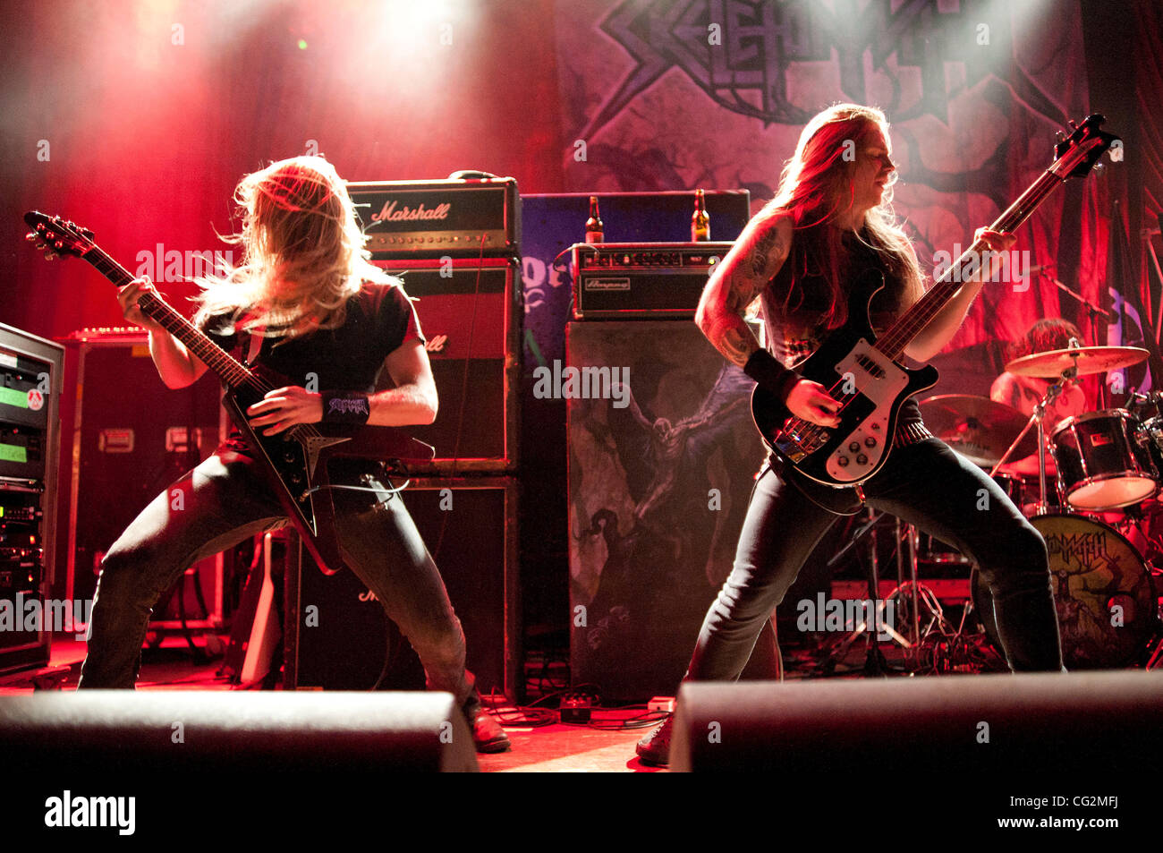 October 4, 2011 - Chicago, IL, USA - Scott Hedrick (left) and Evan Linger (right) of the Ohio thrash metal band - Stock Image