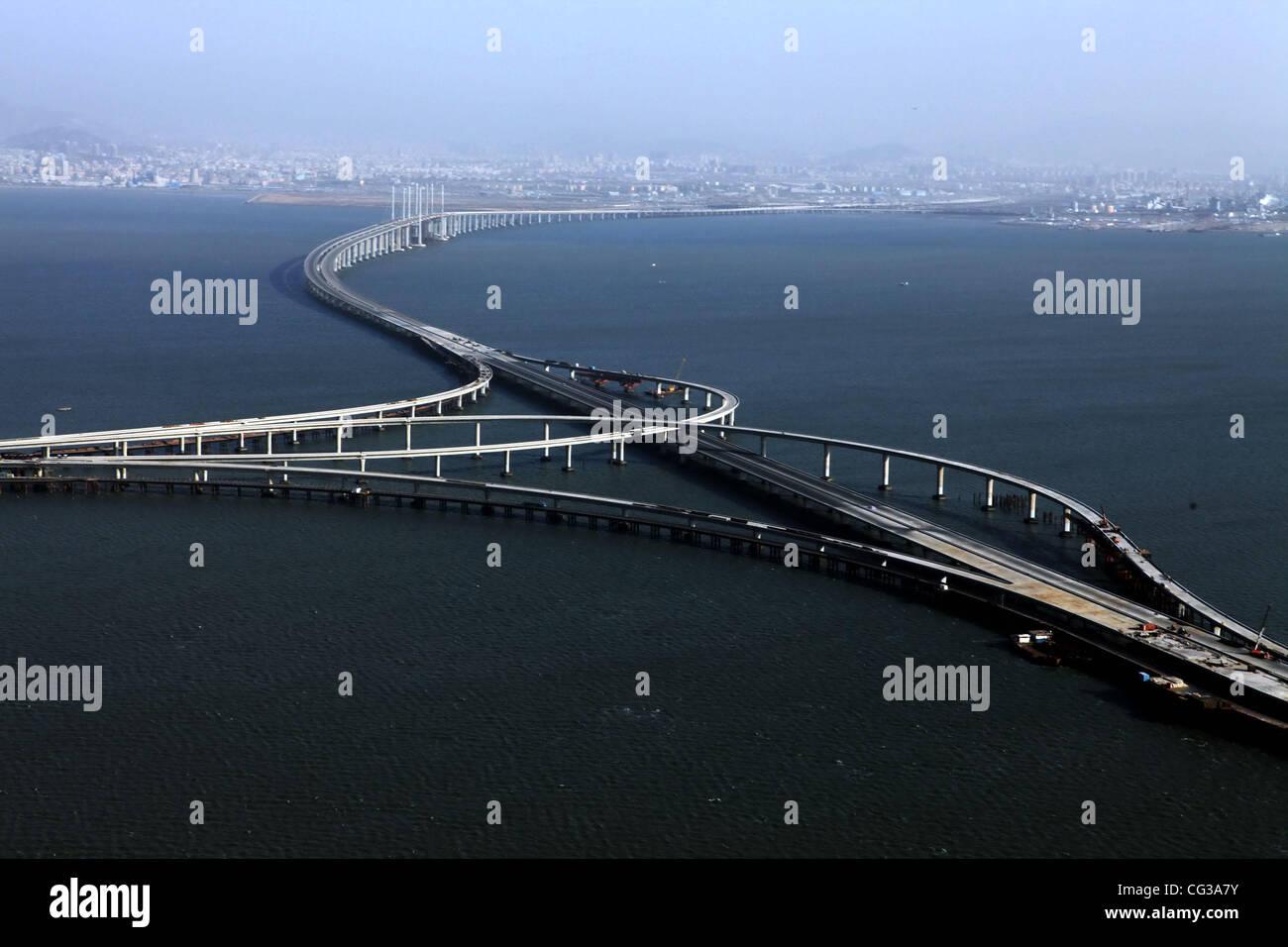 Longest Sea Bridge The Qingdao Haiwan Bridge was completed in Qingdao, Jiaozhou Bay, China on 27 December 27 2010, - Stock Image