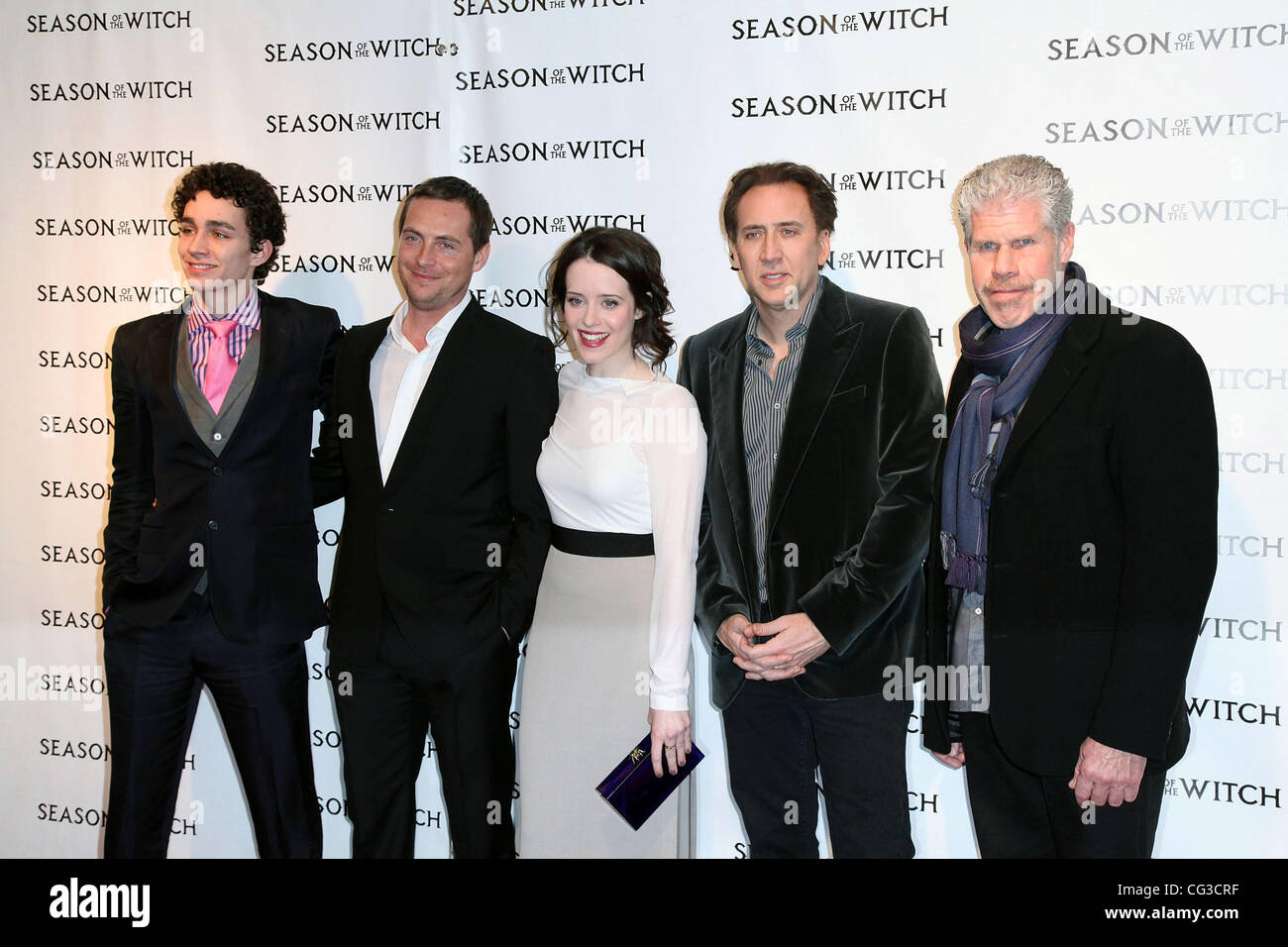Robert Sheehan, Stephen Campbell Moore, Claire Foy, Nicolas Cage and Ron Perlman,  at the 'Season of the Witch' - Stock Image