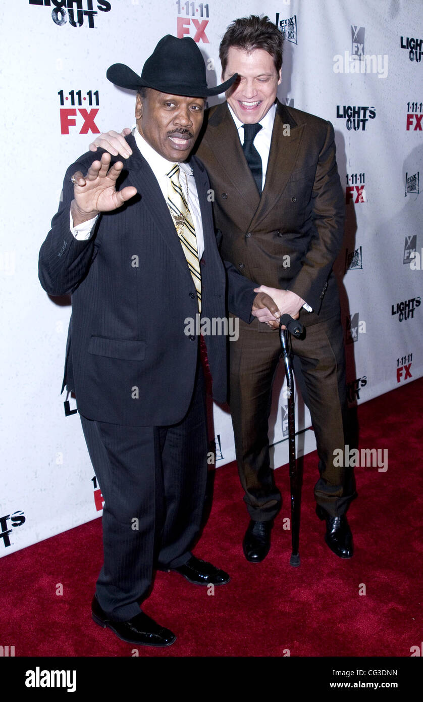 Joe Frazier and Holt McCallany Premiere screening of FX's 'Lights Out' at Hudson Theatre - Arrivals - Stock Image