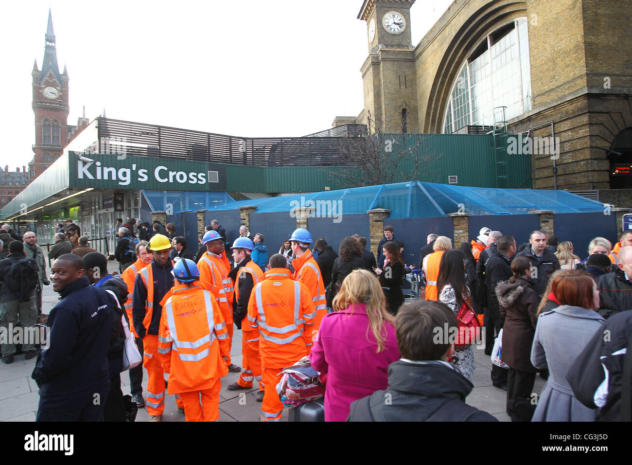 King's Cross station is evacuated after a security alert at around 3pm GMT on 10 Jan 2010 London, England - - Stock Image