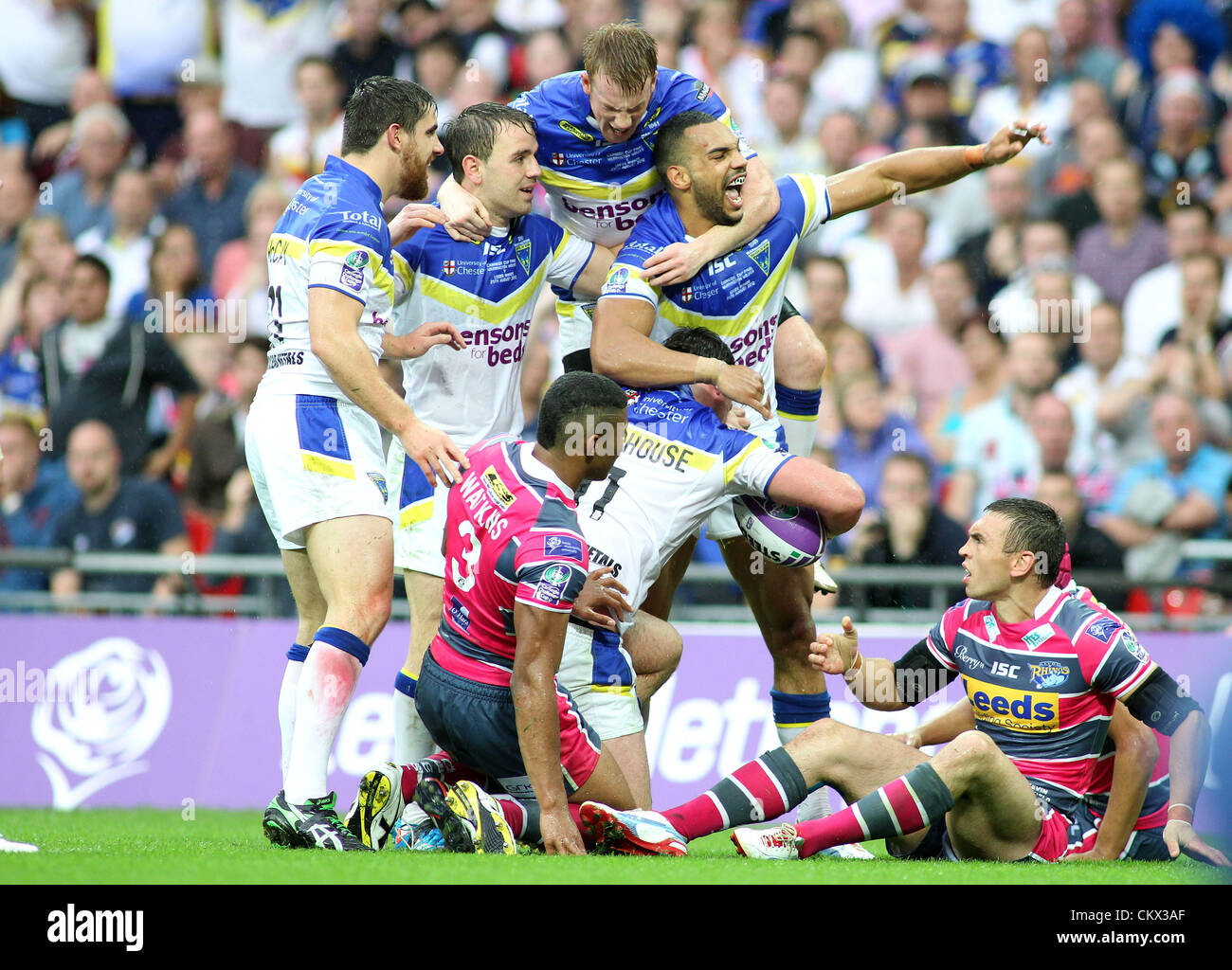 25th Aug 2012. Leeds Rhinos v Warrington Wolves  Carnegie Challenge Cup Final 2012 Warrington players L-R:  Tyrone Stock Photo