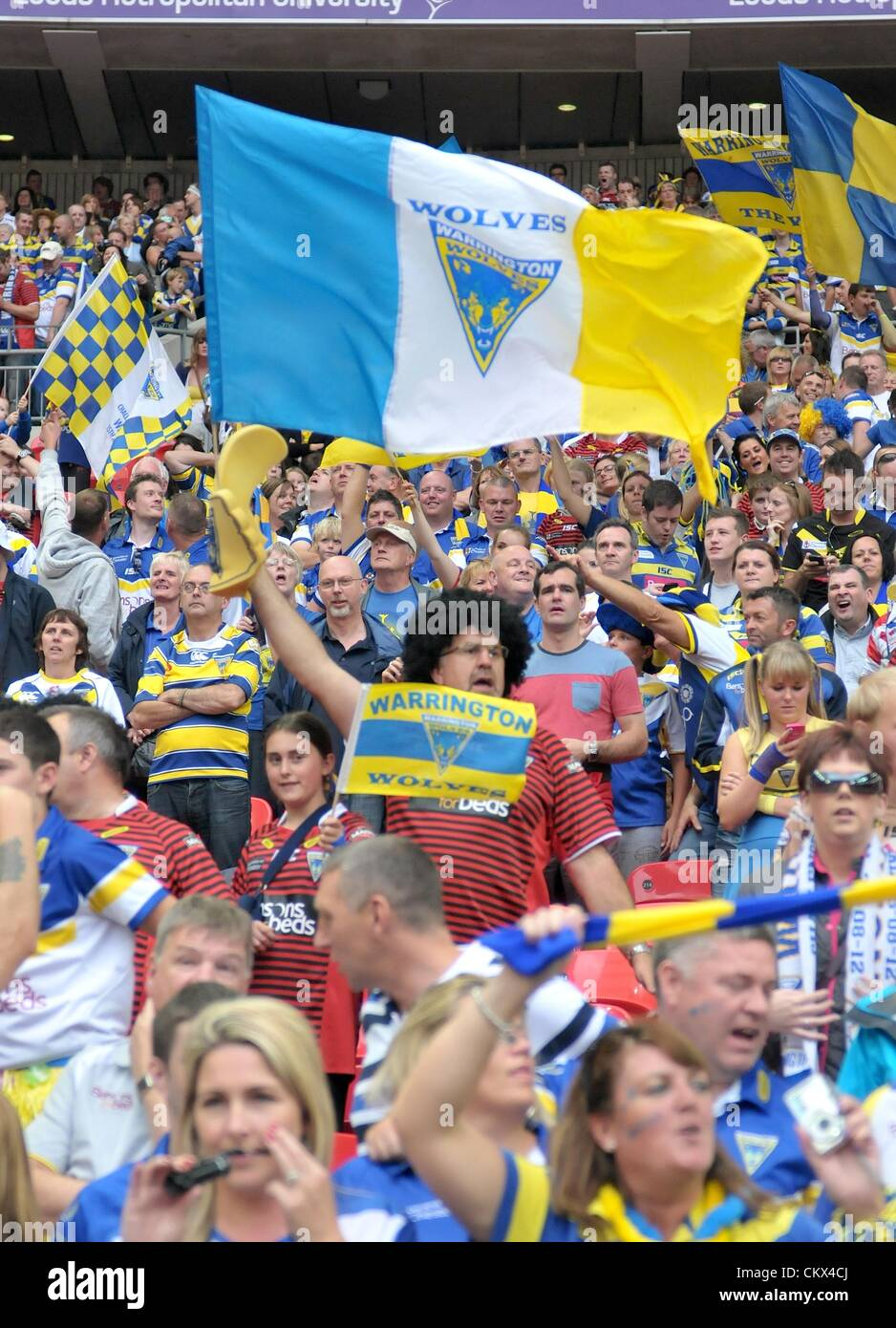 25th Aug 2012. London, England.  Warrington fans during the Carnegie Challenge Cup Final between Leeds Rhinos and Stock Photo