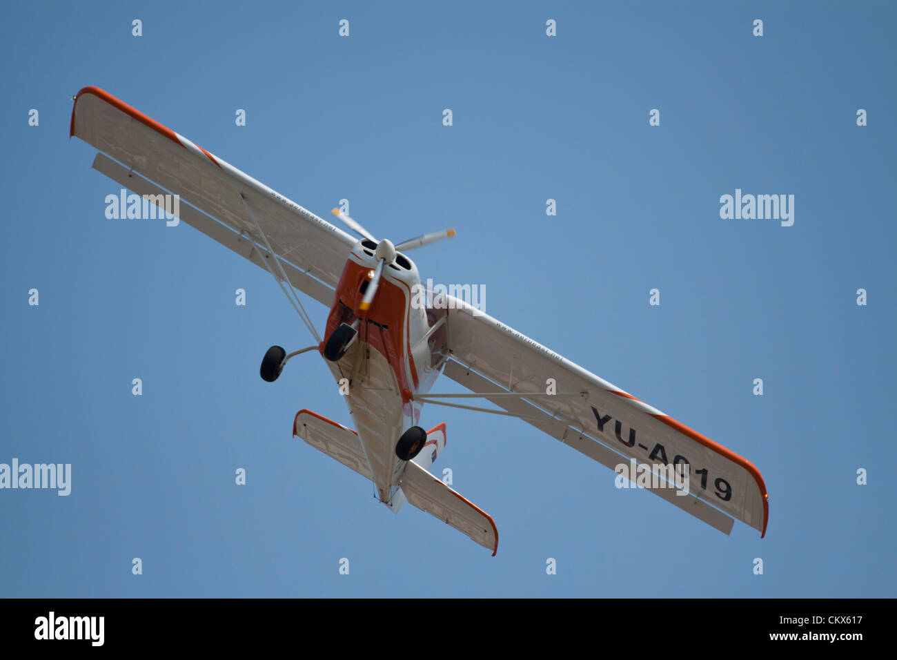 Lesnovo, Bulgaria; 24th Aug 2012. This MXP light aircraft came over from Serbia to participate in the air show. - Stock Image