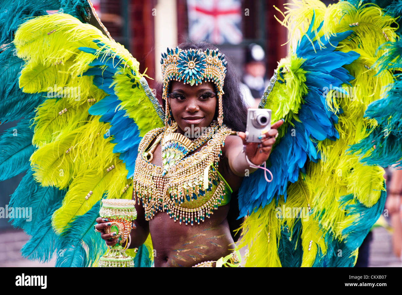 London, UK - 27 August 2012: a party-goer takes part at the parade during the annual Notting Hill Carnival. Credit: - Stock Image