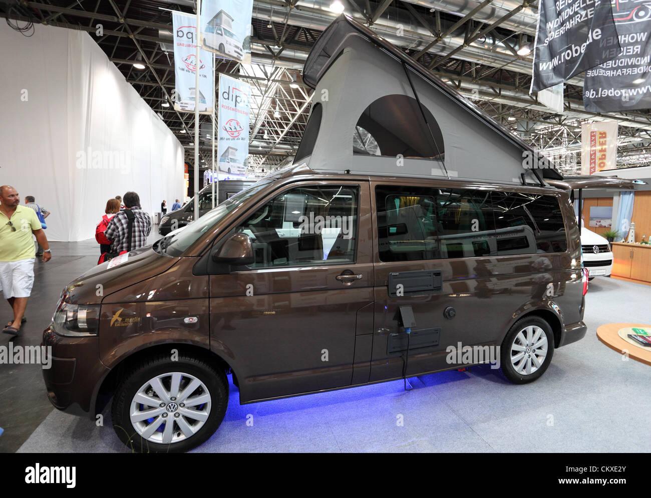 August 27, 2012 in Dusseldorf, Germany. Volkswagen camper van at the Caravan Salon Exhibition 2012. - Stock Image