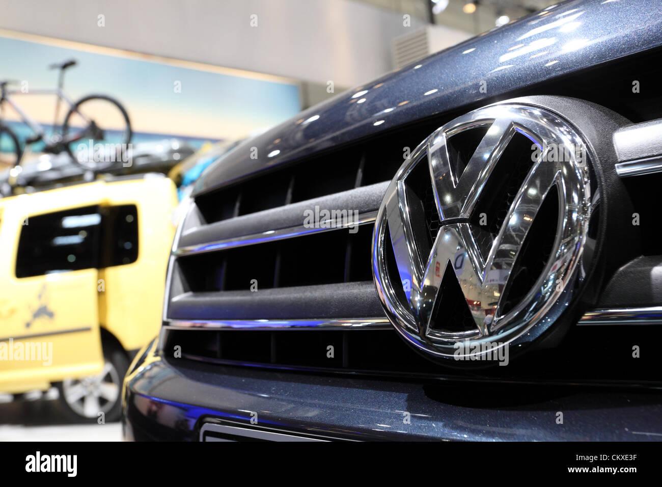 August 27, 2012 in Dusseldorf, Germany. Volkswagen logo at the Caravan Salon Exhibition 2012. - Stock Image
