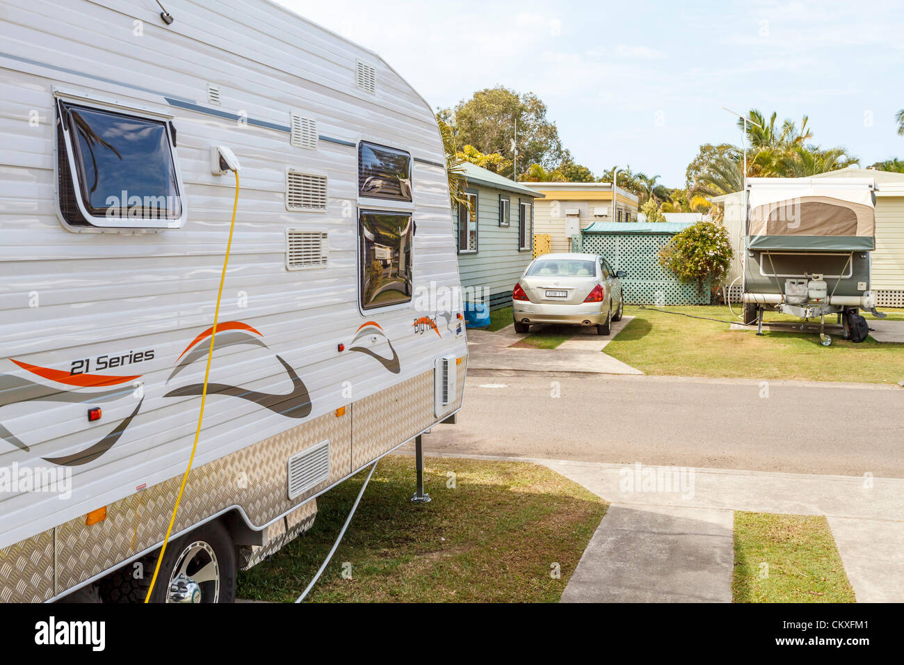 Maroochydore, Sunshine Coast, Queensland, Australia, 29th August 2012.   Caravans at a Sunshine Coast caravan park. - Stock Image