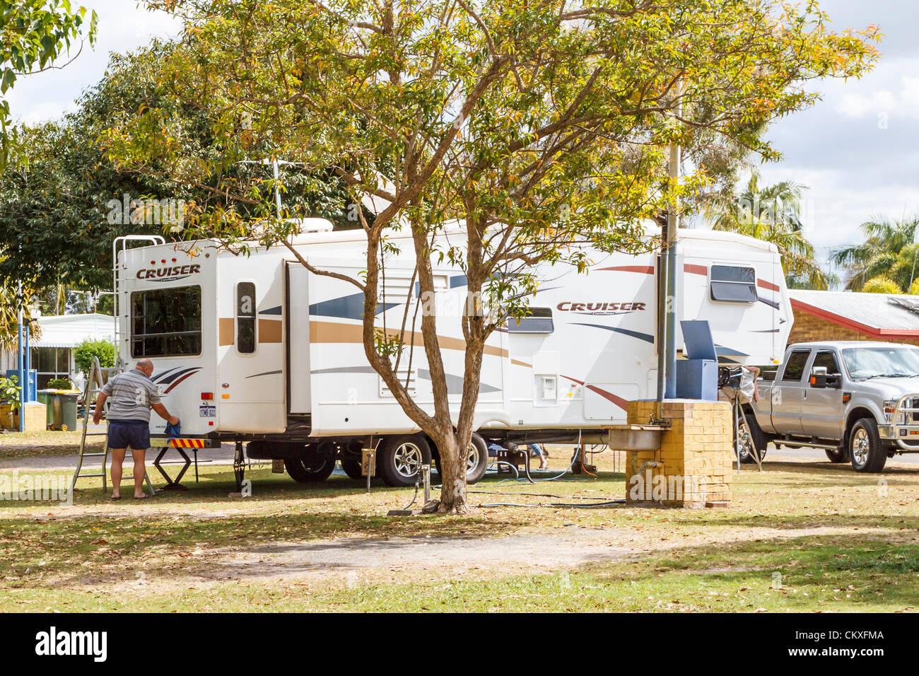 Maroochydore, Sunshine Coast, Queensland, Australia, 29th August 2012.   Large caravan at a Sunshine Coast caravan - Stock Image