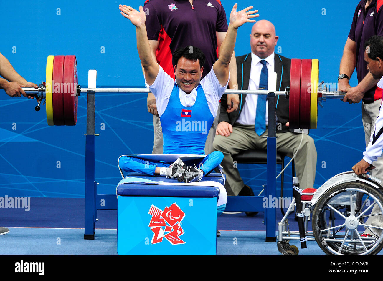30.08.2012 Stratford, England. Eay Simay of Laos in action during the Men's -48Kg Powerlifting on day 1 of the - Stock Image