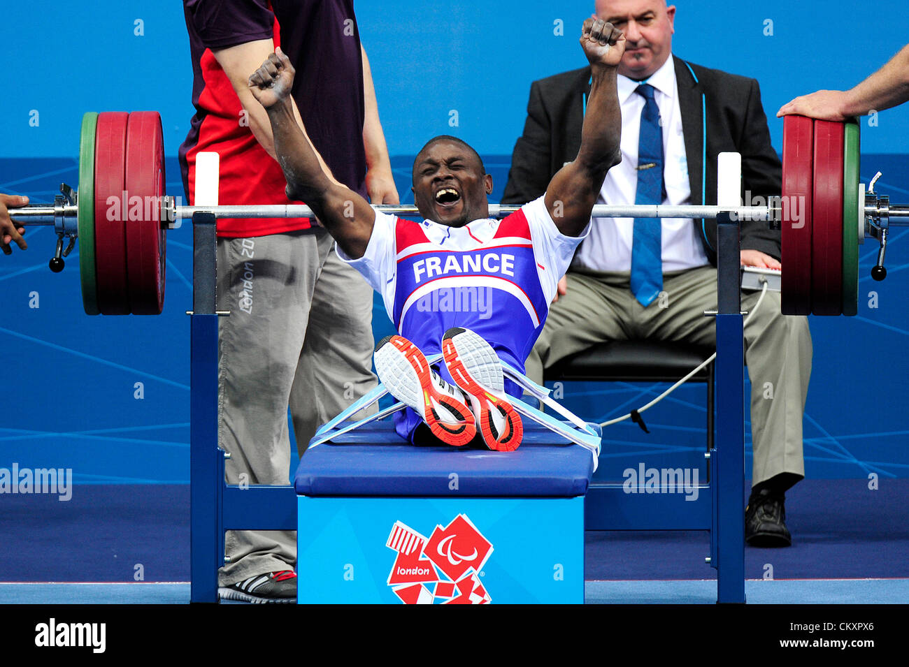 30.08.2012 Stratford, England. Patrick Ardon of France in action during the Men's -48Kg Powerlifting on day - Stock Image