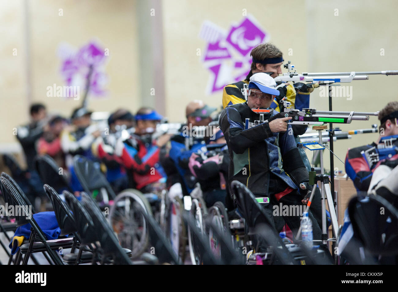31.08.2012 London, England. in action during the Men's R1-10m Air Rifle Standing-SH1 on Day 2 of the Paralympic - Stock Image