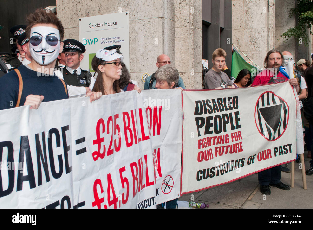 London, UK. 31st Aug 2012. Disabled people protesting against the Department of Work and Pension's use of Atos, - Stock Image