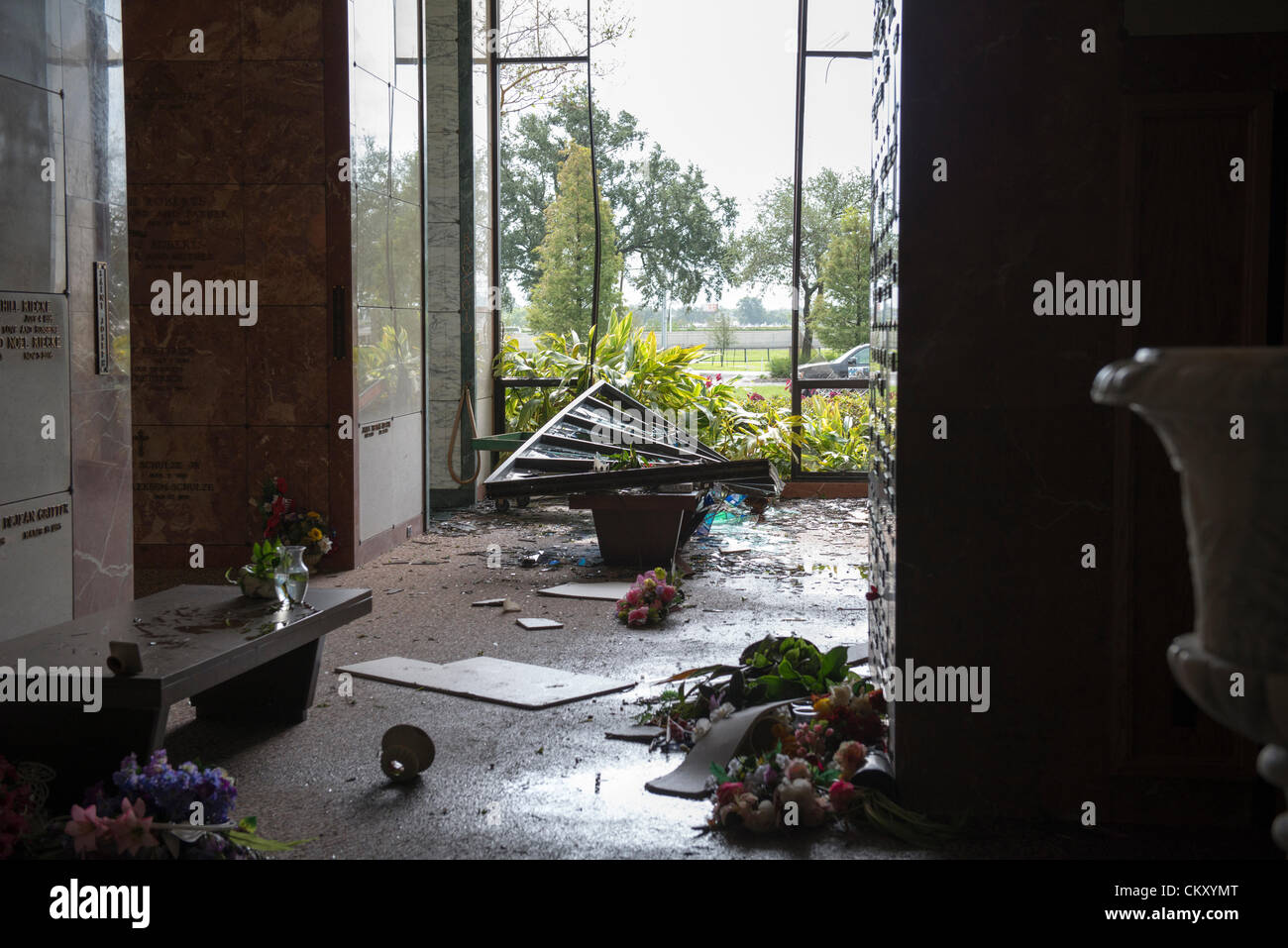 Hurricane Isaac's winds smashed through stained glass windows at the All Saints Mausoleum at Lakelawn Metairie Memorial Stock Photo