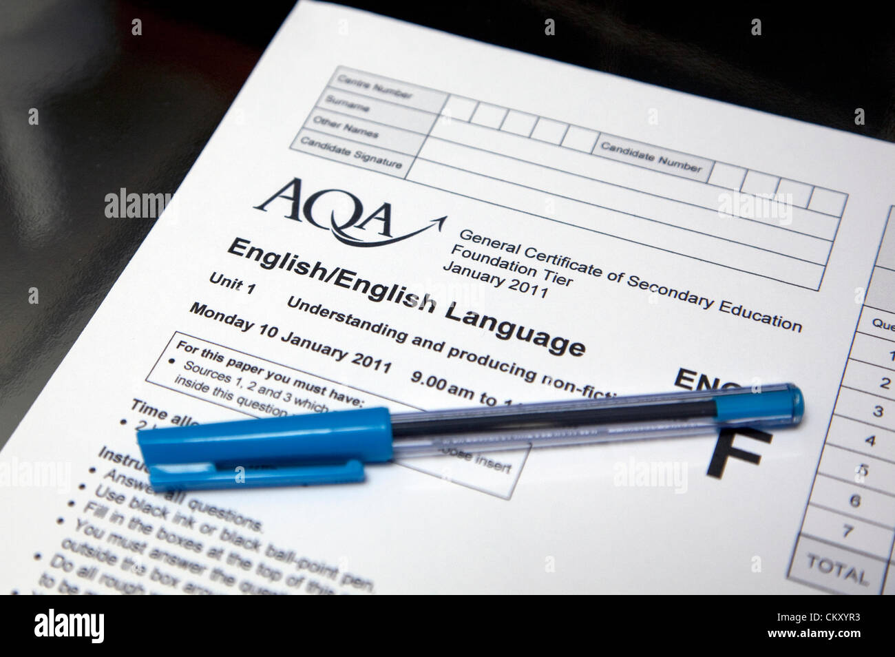 London 31st August 2012: new development in GCSE grading row as Ofqual announces that papers will not be remarked. - Stock Image