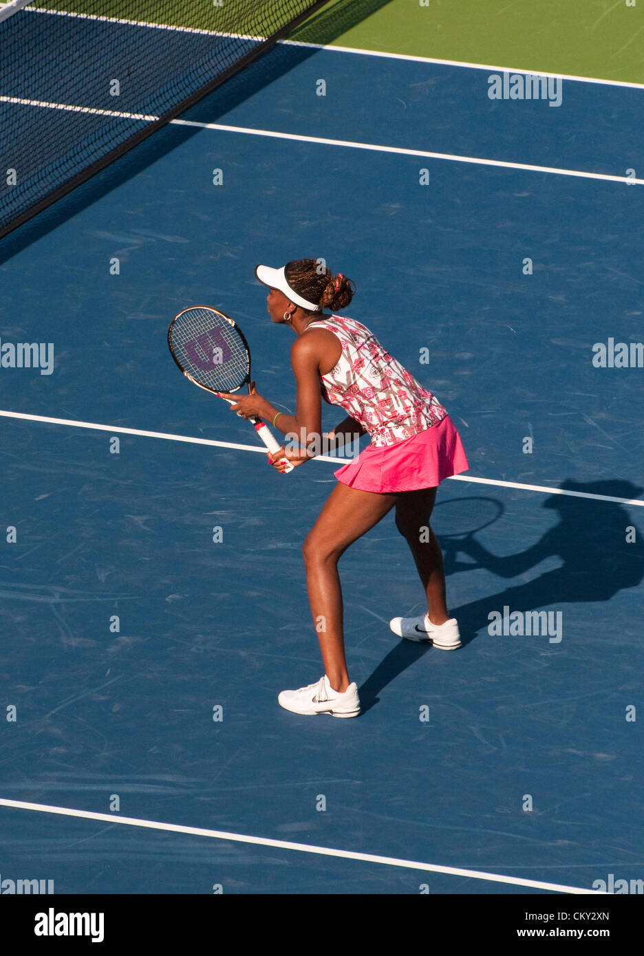 Venus Williams of the USA during the women's doubles second round match on Day Five of the 2012 US Open on August - Stock Image