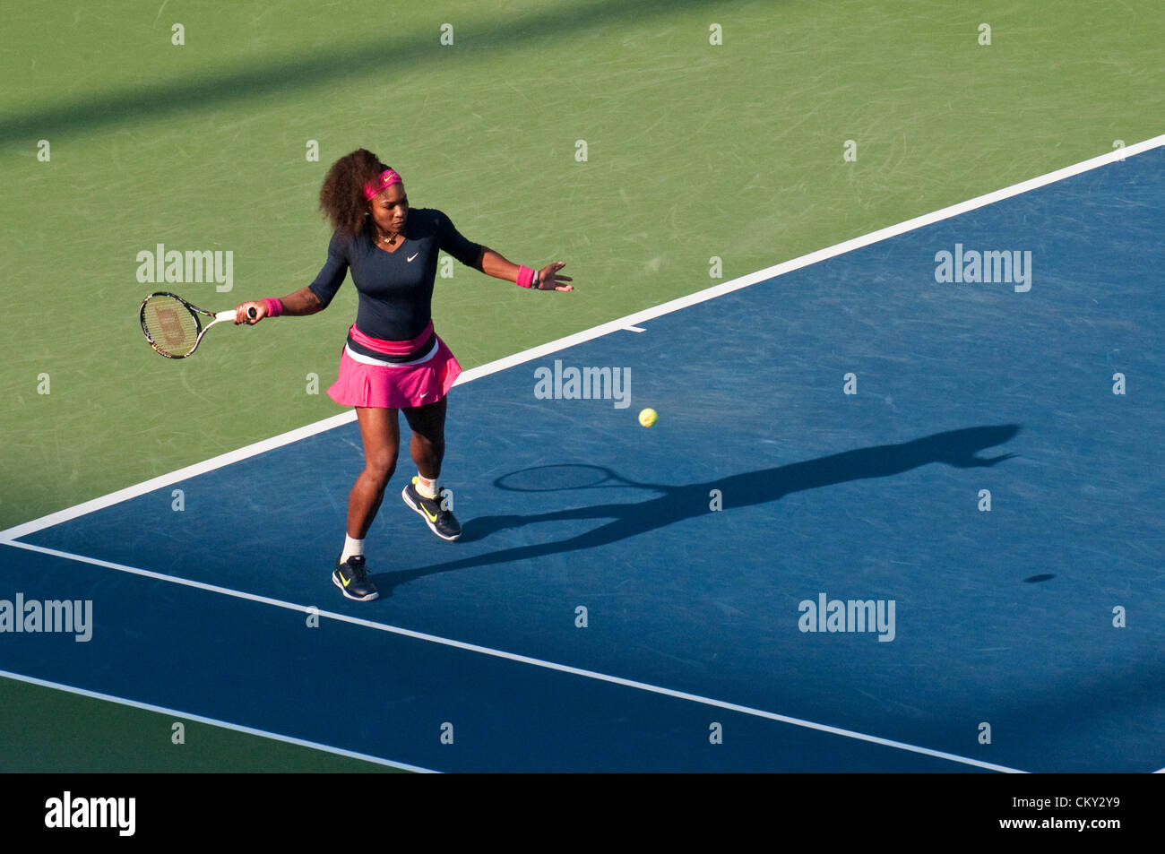 Serena Williams of the USA during the women's doubles second round match on Day Five of the 2012 US Open on - Stock Image
