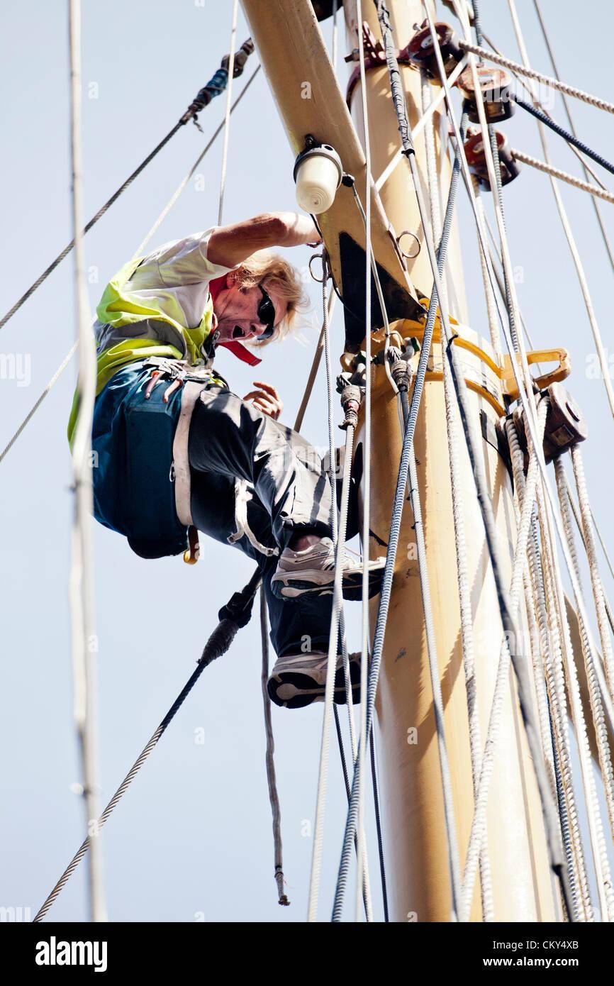 Irish Sea Tall Ships Regatta, UK, Liverpool, Sept 1st 2012. A weekend of maritime celebrations at The Albert Dock, - Stock Image