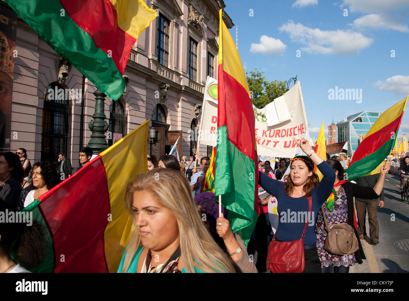 Saturday 1st Sept 2012. Demonstration to support Kurds in Syria. Berlin, Germany. - Stock Image