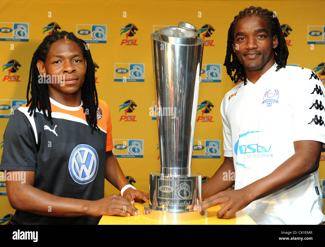 JOHANNESBURG, SOUTH AFRICA - SEPTEMBER 03, Captains Lefa Tsuysulupa of Swallows and Thabo September of Supersport - Stock Image