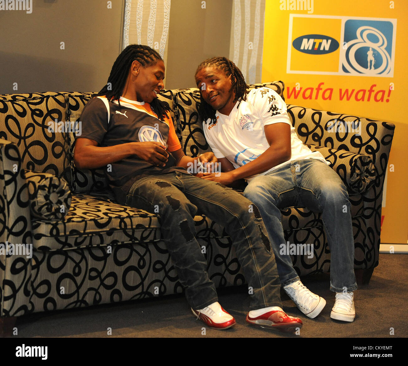 JOHANNESBURG, SOUTH AFRICA - SEPTEMBER 03, Lefa Tsutsulupa of Swallows and Thabo September of Supersport before - Stock Image