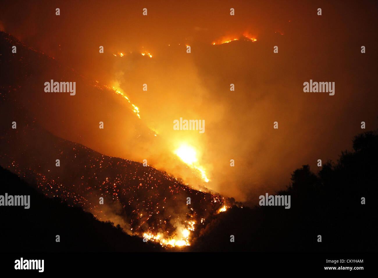 Sept. 2, 2012 - Angeles National Forest, California, U.S. - The Williams Fire burns on Sunday, September 2, 2012 - Stock Image