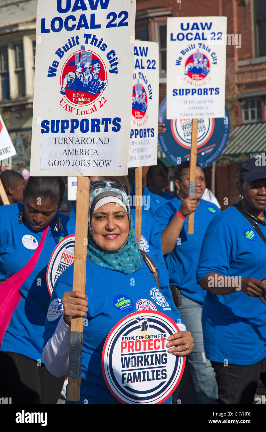 Detroit, Michigan - Members of the United Auto Workers union march in the Labor Day parade. - Stock Image