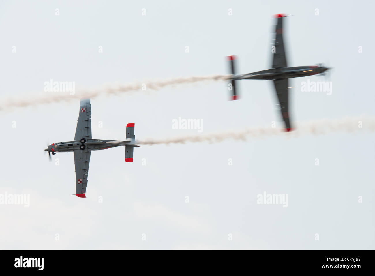SLIAC, SLOVAKIA - SEPTEMBER 2: airplanes of Orlik aerobatic team are crossing at close distance at SIAF on September - Stock Image