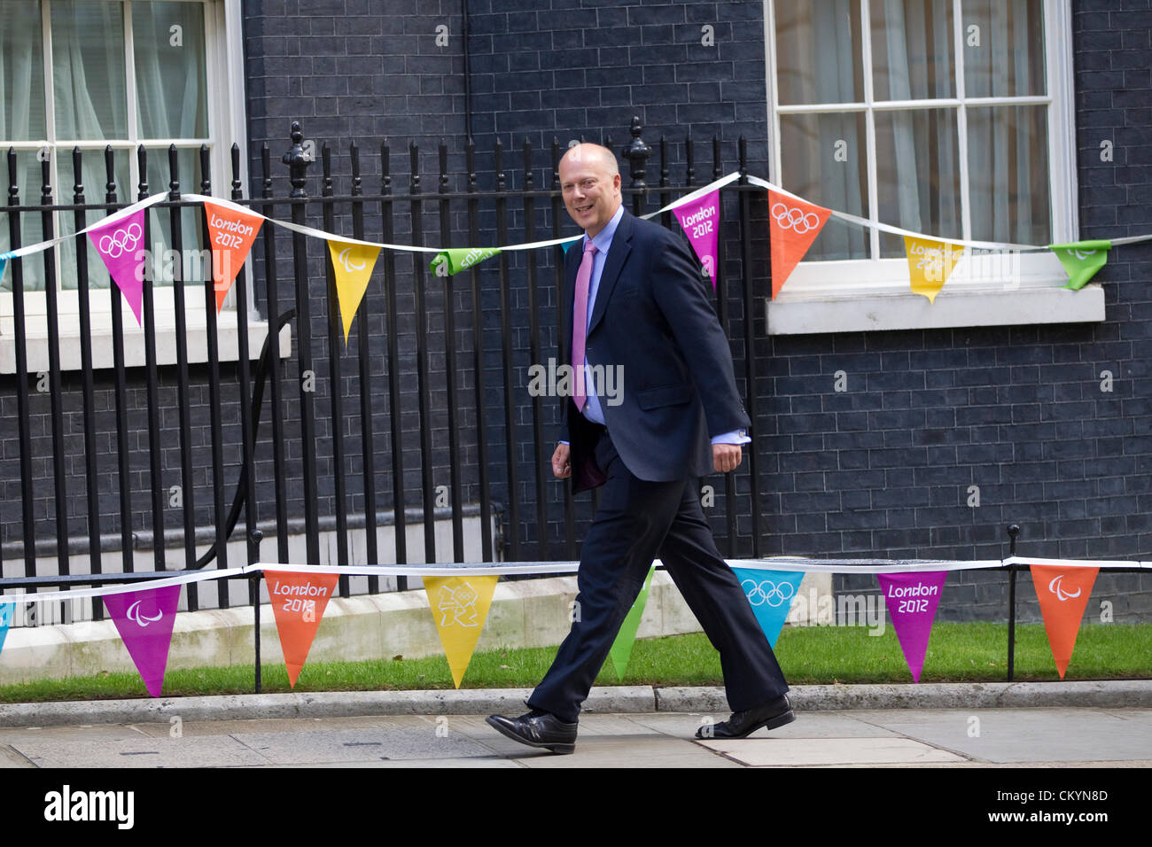 Cabinet Reshuffle, Downing Street, London, England, UK. 4th September 2012. Chris Grayling arrives in Downing Street - Stock Image