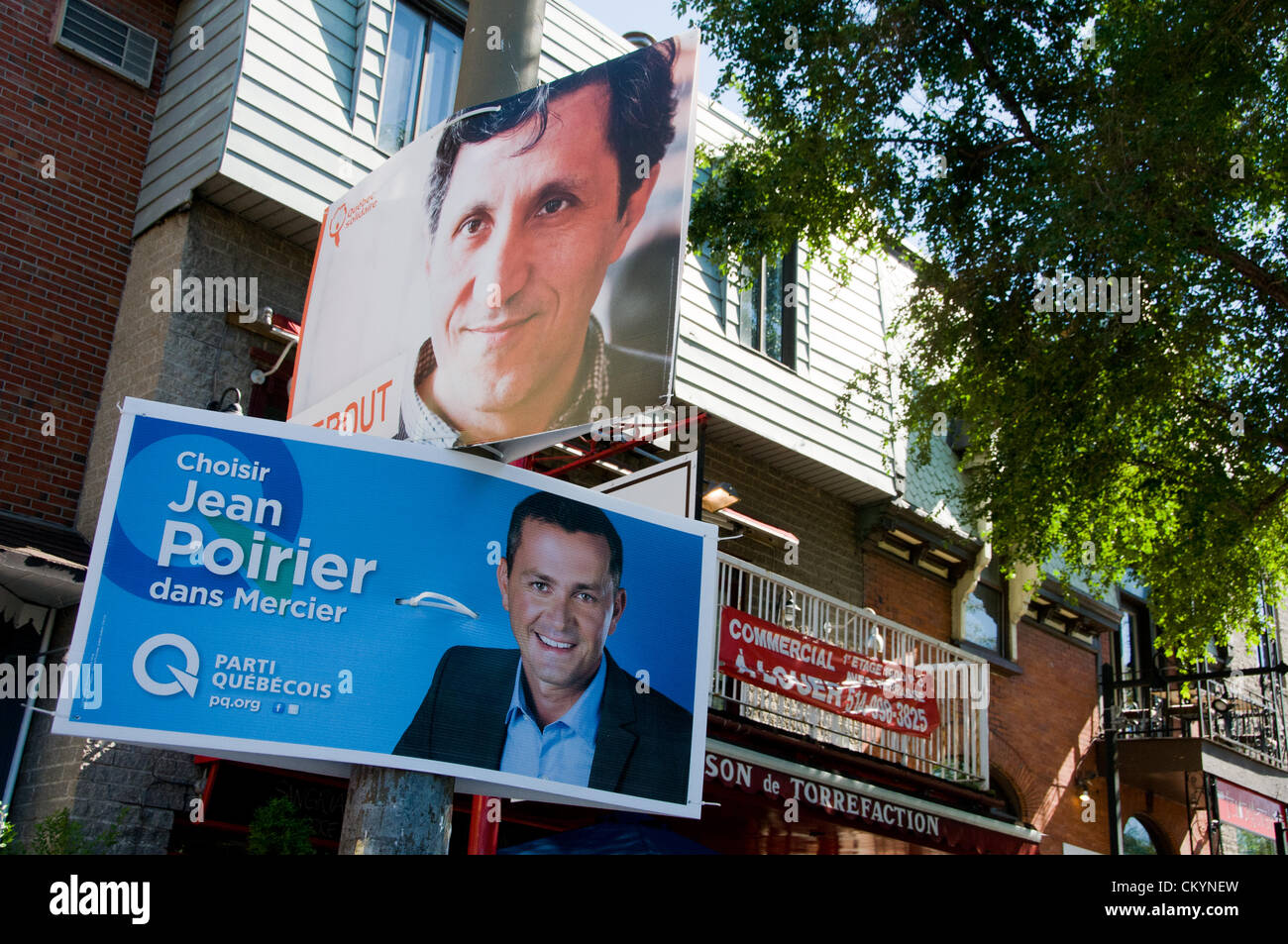 September 4, 2012 . Placards in Montreal show the battle between political parties. In this picture on boulevard - Stock Image
