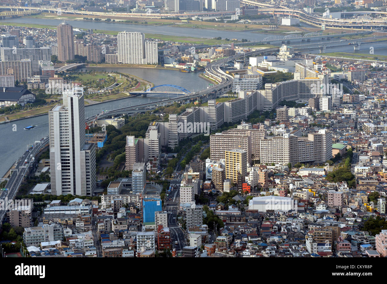 September 5, 2012, Tokyo, Japan - A cluster of decrepit houses stand side by side along narrow allies barely wide Stock Photo