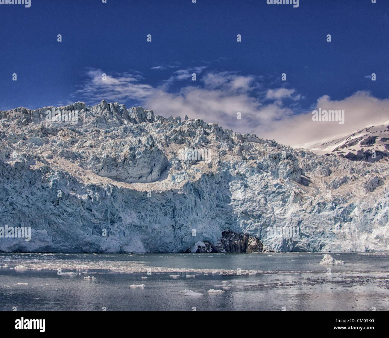 July 1, 2012 - Kenai Peninsula Borough, Alaska, US - Close-ups of the front face of impressive, awe-inspiring, Aialik - Stock Image