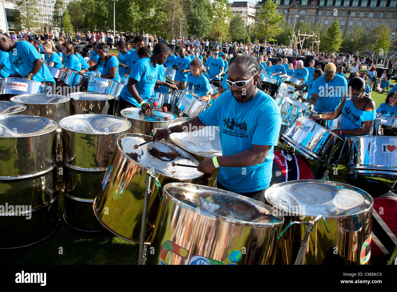 London, UK. 8th September, 2012. One Thousand Pans. Players from steel band pan yards all over the UK converge at - Stock Image