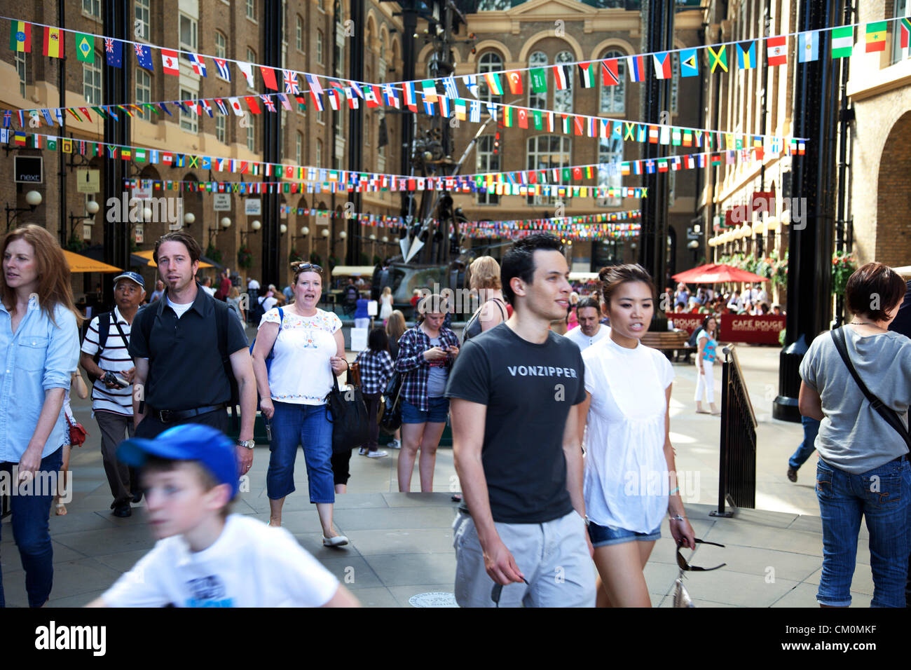 London, UK. 8th September, 2012. Flags of the World at Hays Galleria. The Mayor's Thames Festival is London's largest - Stock Image