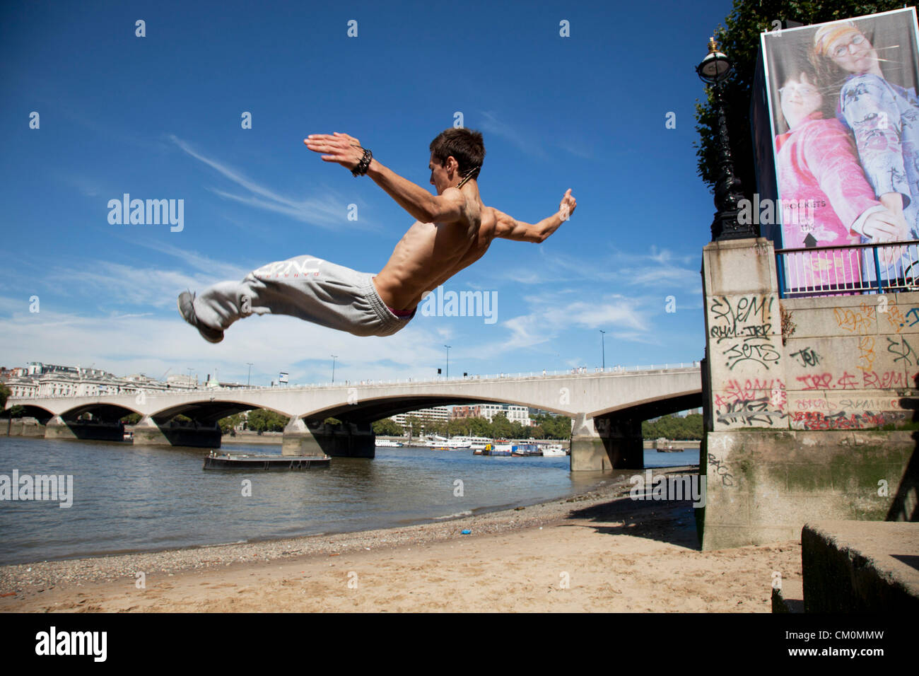 London, UK. 8th September, 2012. Parkour runner. The Mayor's Thames Festival is London's largest outdoor arts festival - Stock Image