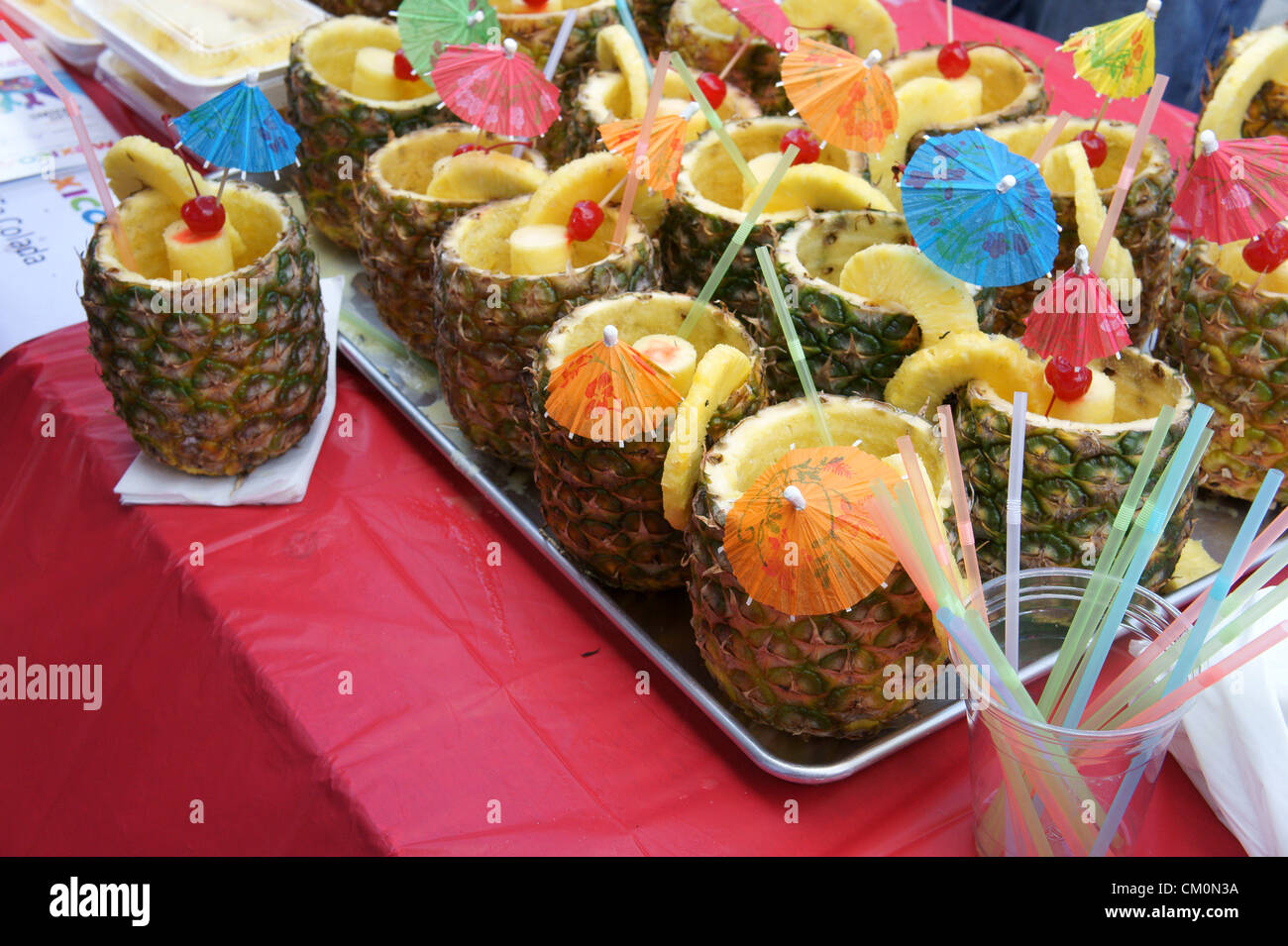 Puna coladas at the Mexico Fest Mexican independence day celebrations in Vancouver, British Columbia, Canada - Stock Image