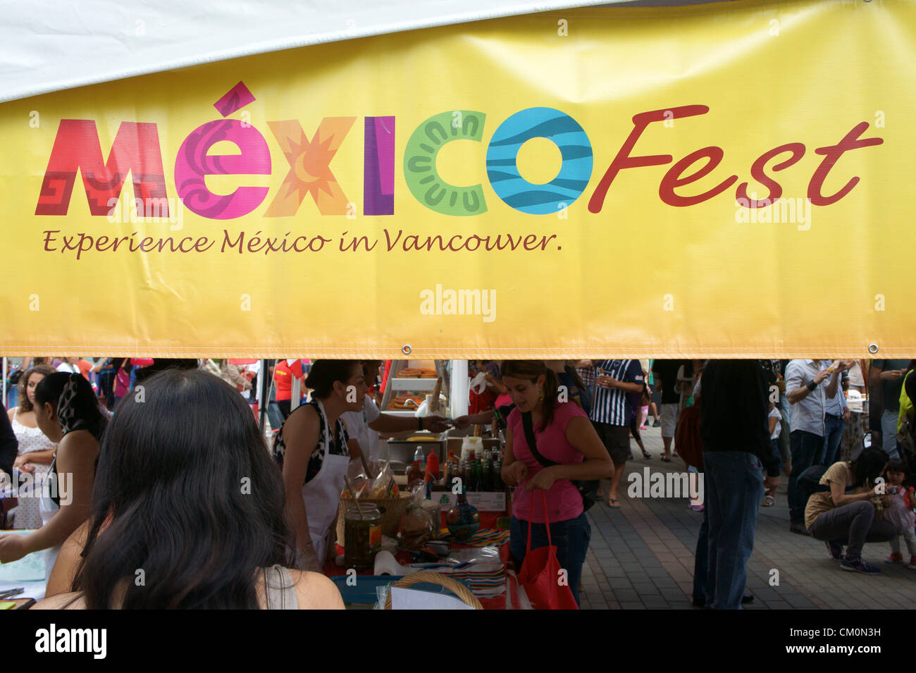 Sign at the Mexico Fest Mexican independence day celebrations in Vancouver, British Columbia, Canada - Stock Image
