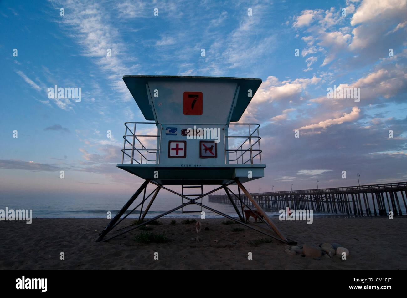 Aug. 29, 2012 - Ventura, Ca, USA - August 28, 2012 Ventura, Ca. USA. A lifegaurd tower on the beach near the Ventura Stock Photo