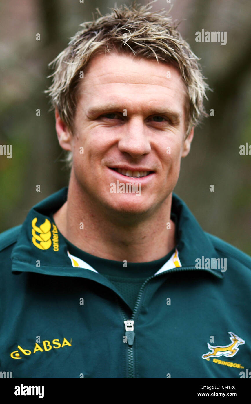 DUNEDIN, NEW ZEALAND - SEPTEMBER 14: Captain Jean de Villiers poses for a photo after a South African Springboks - Stock Image
