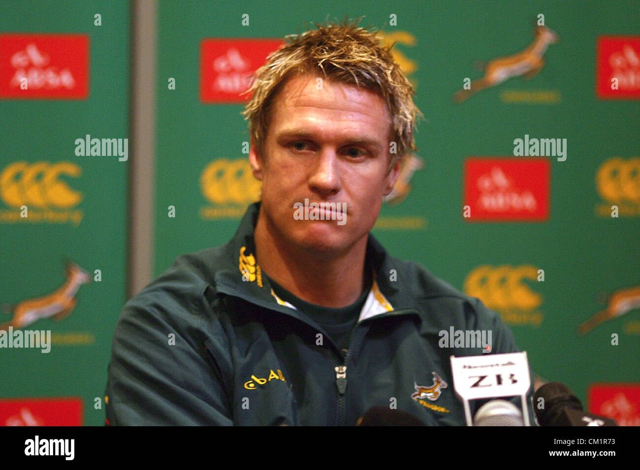 DUNEDIN, NEW ZEALAND - SEPTEMBER 14: Captain Jean de Villiers looks on during a South African Springboks press conference - Stock Image