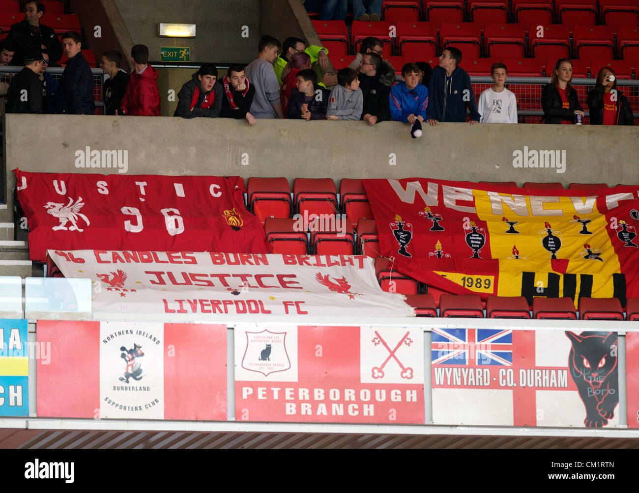 Barclays English Premier League Football - Sunderland AFC v Liverpool FC. Liverpool banners  during The Barclays - Stock Image
