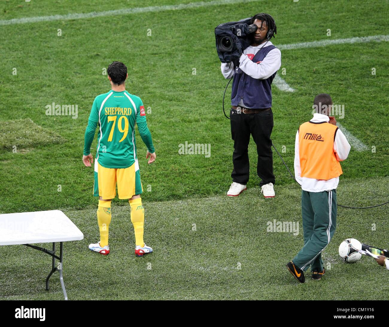 DURBAN, SOUTH AFRICA - SEPTEMBER 15,Supersport staff at work during the Absa Premiership match between Golden Arrows - Stock Image