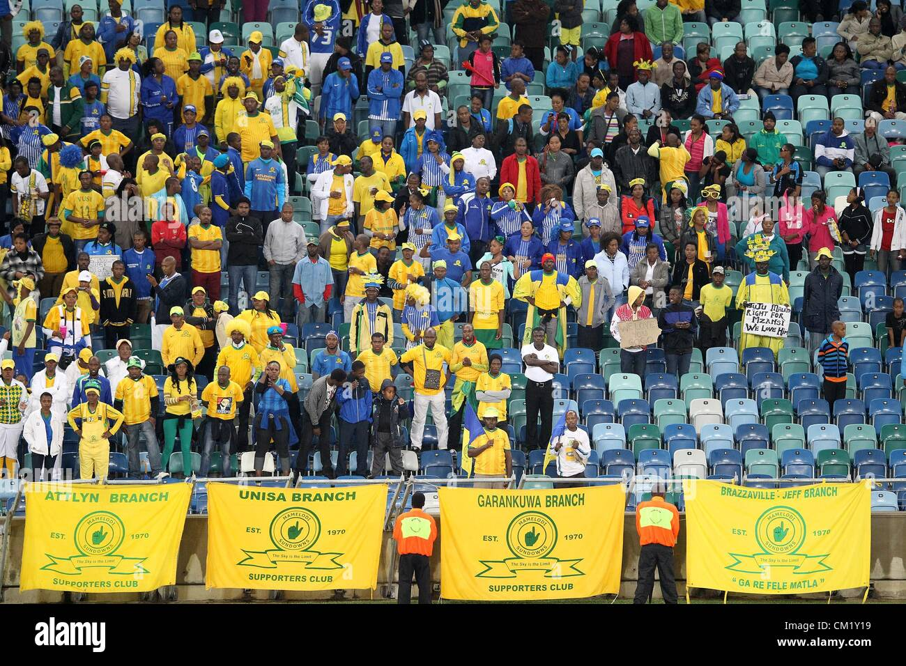 DURBAN, SOUTH AFRICA - SEPTEMBER 15,Sundowns fans during the Absa Premiership match between Golden Arrows and Mamelodi - Stock Image