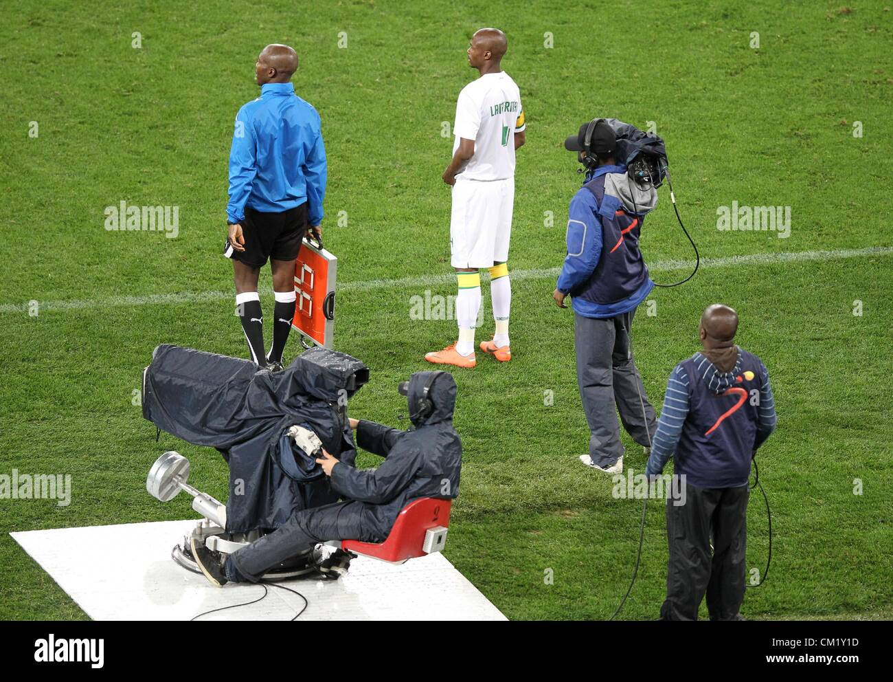 DURBAN, SOUTH AFRICA - SEPTEMBER 15,Superspoprt staff at work during the Absa Premiership match between Golden Arrows - Stock Image