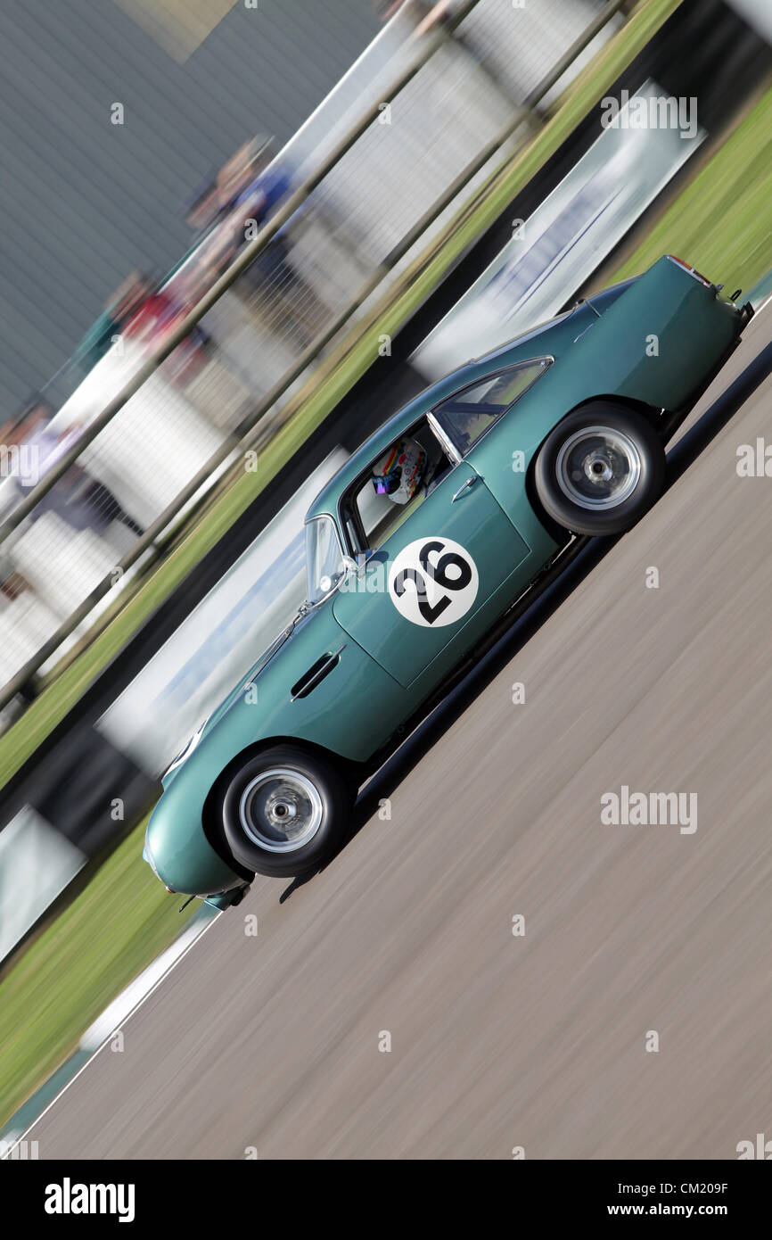 Goodwood Estate, Chichester, UK. 15th September 2012. Romain Dumas driving a Aston Martin DB4GT during the RAC TT - Stock Image