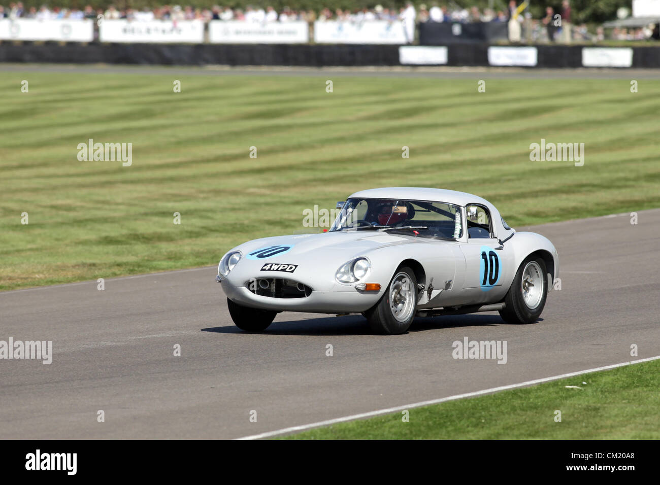 Goodwood Estate, Chichester, UK. 15th September 2012. Ludovic Lindsay driving a 1961 Jaguar E-type lightweight during Stock Photo