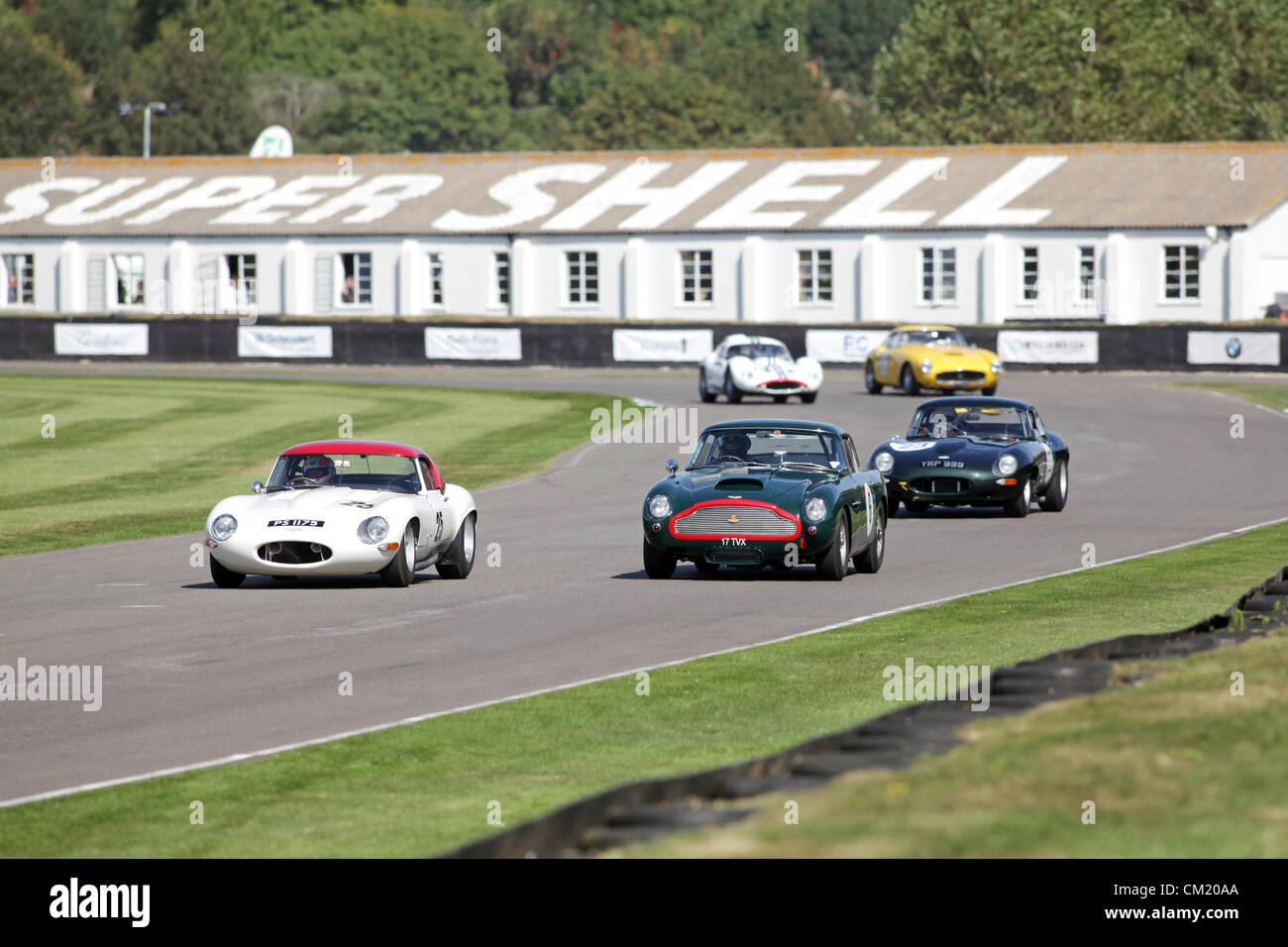 Goodwood Estate, Chichester, UK. 15th September 2012. Martin Brundle driving a white 1963 Jaguar E-type during the - Stock Image